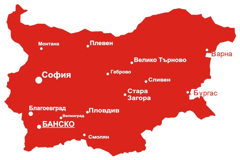Map of Bansko town | Lucky Bansko SPA & Relax